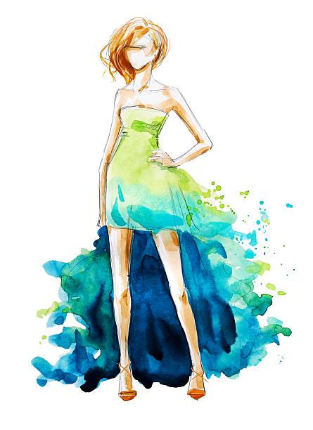 ilustrações, clipart, desenhos animados e ícones de watercolor fashion illustration, hand painted - baile de graduação