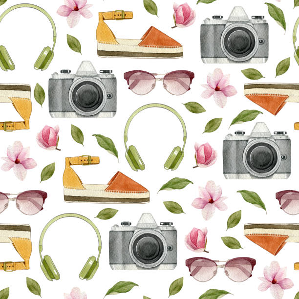 watercolor fashion illustration. set of trendy accessories: headphones,photo camera,sunglasses,espadrilles and magnolia flowers. spring collection. - spring fashion stock illustrations, clip art, cartoons, & icons