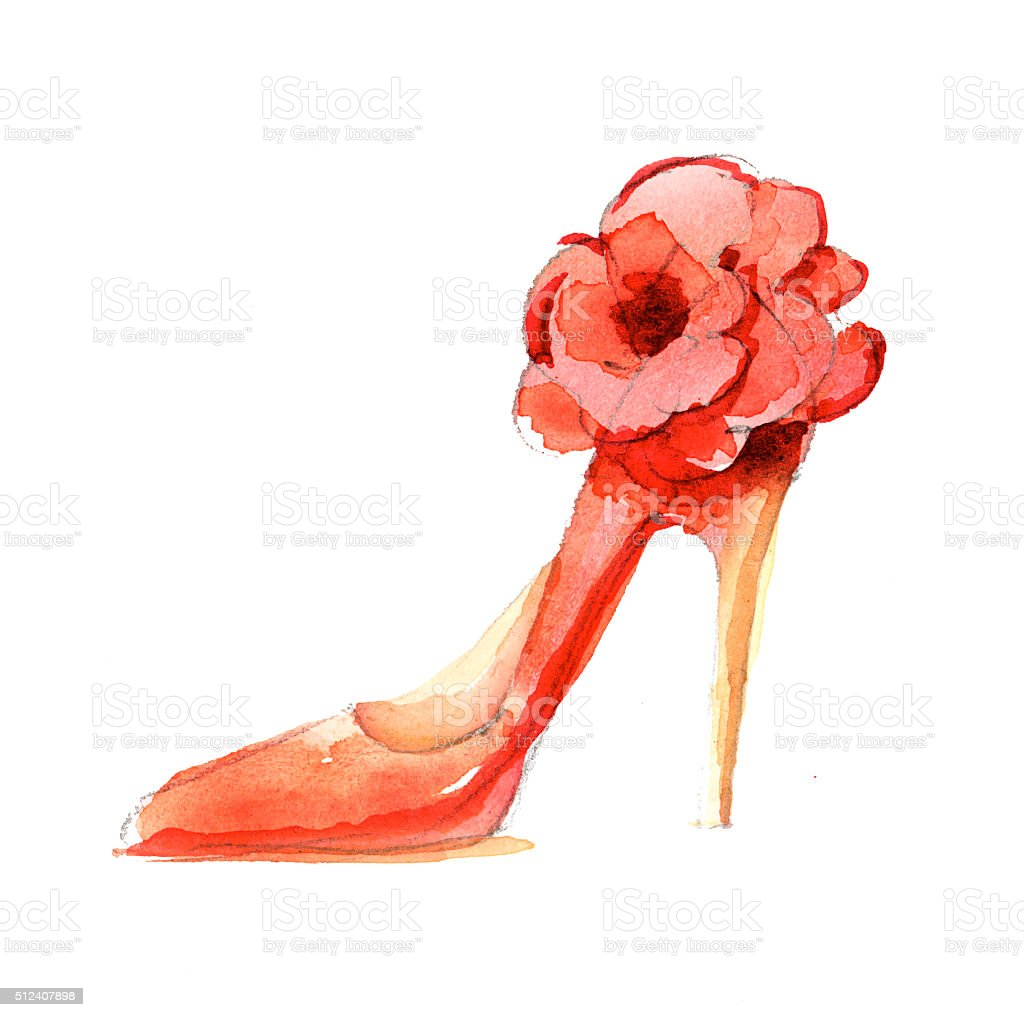 Watercolor Fashion Shoes Illustration Luxury High Heels ...