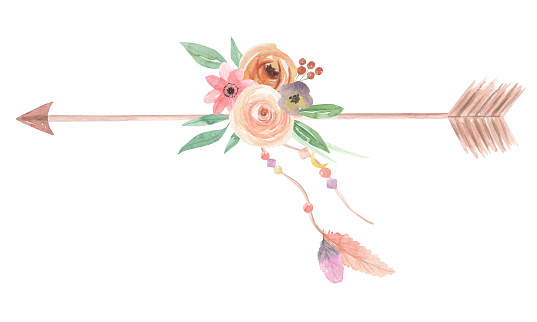 Watercolor Feathers Boho Flowers Floral Arrows Spring ...
