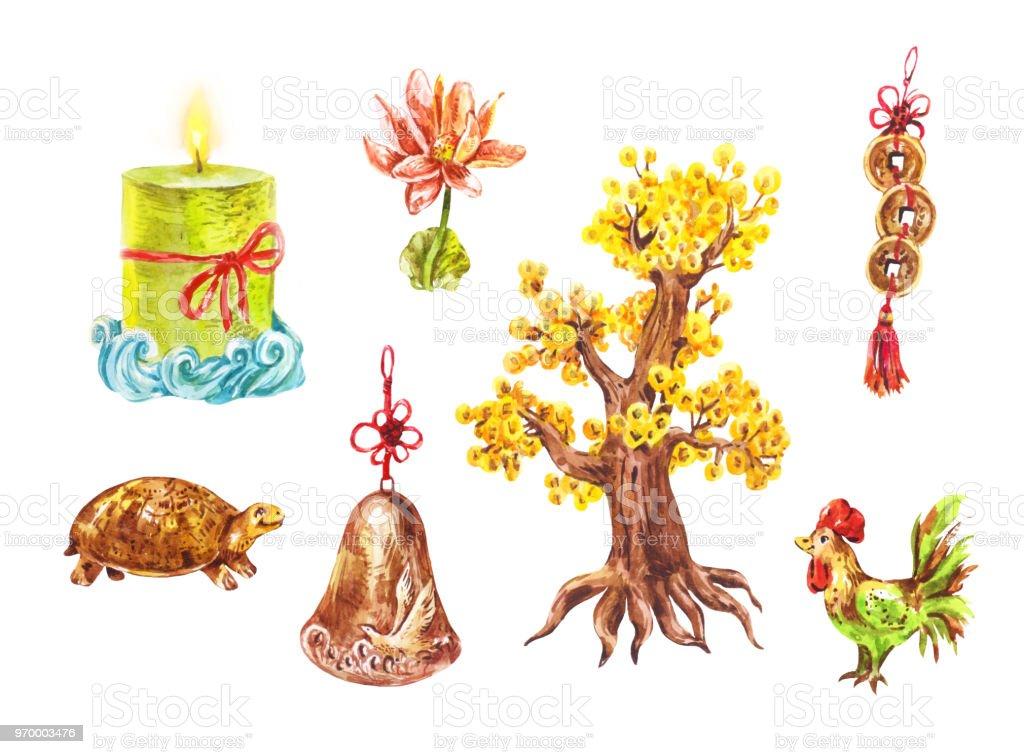 Symboles De Chineese Aquarelle Feng Shui Chiffrestortues Arbre