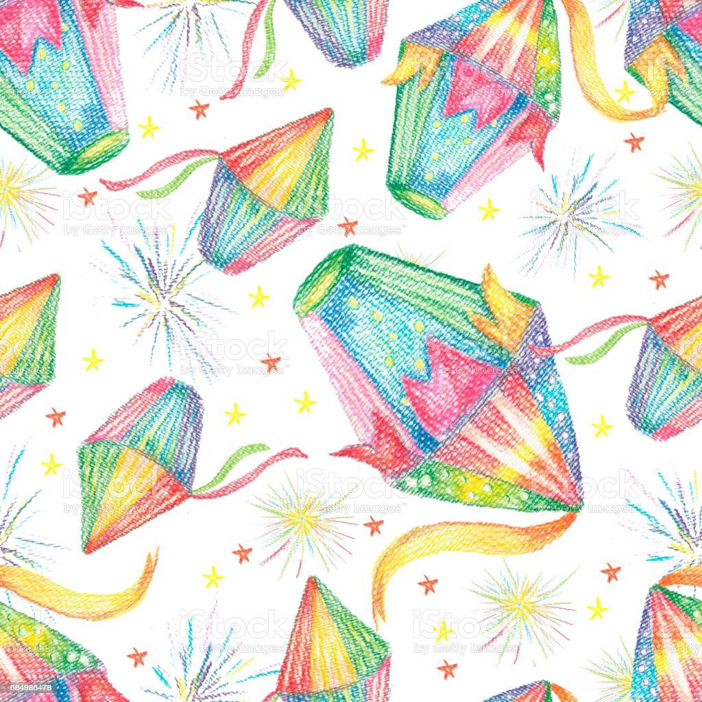 Vacaciones en fondo acuarela Festa Junina. De patrones sin fisuras. - ilustración de arte vectorial