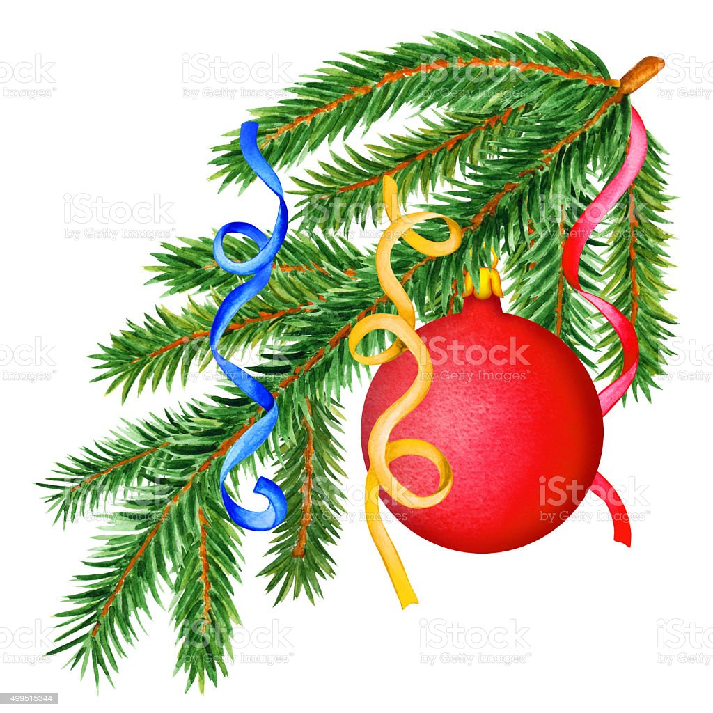 royalty free watercolor pine tree branches ball streamers clip art rh istockphoto com