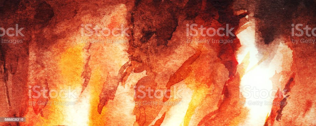 Watercolor fire flame fireplace abstract texture background vector art illustration