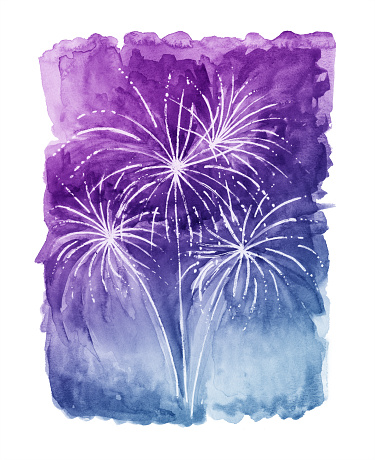 Watercolor Fireworks with Purple and Blue Background