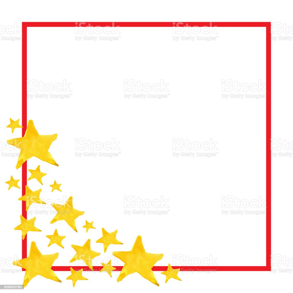 Watercolor Five Pointed Star Symbol Frame Template Background Stock ...