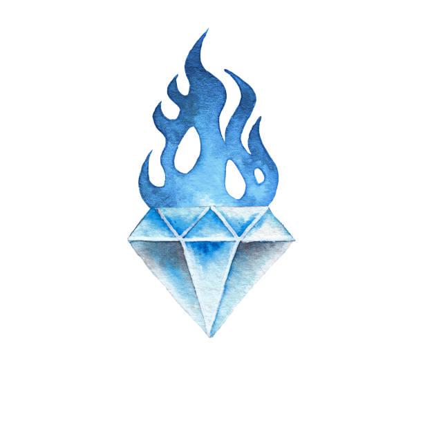 水彩の燃えるような宝石 - 炎のタトゥー点のイラスト素材/クリップアート素材/マンガ素材/アイコン素材