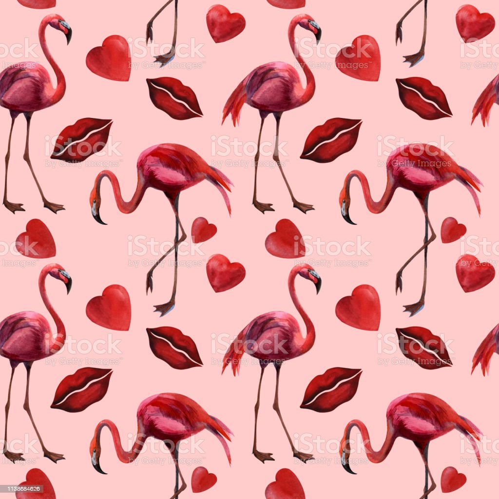 Flamingo Couple Kissing Romance Passion Partners Love Valentines Watercolor Background for Baby Shower Bridal Wedding Studio Photography Pictures Dark Coral WHI Flamingo 8x10 FT Photography Backdrop