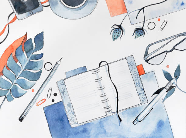 Watercolor Flat Lay Illustration of Blogger Desk Watercolor desktop with flat lay objects and accessories – textbook, papers, pen and pencil, plant leaf, glasses, cup of coffee. High quality photo of hand drawn illustration. diary stock illustrations