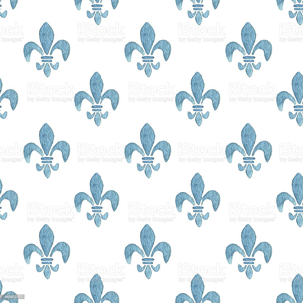Watercolor Fleur de Lis Pattern in Blue vector art illustration