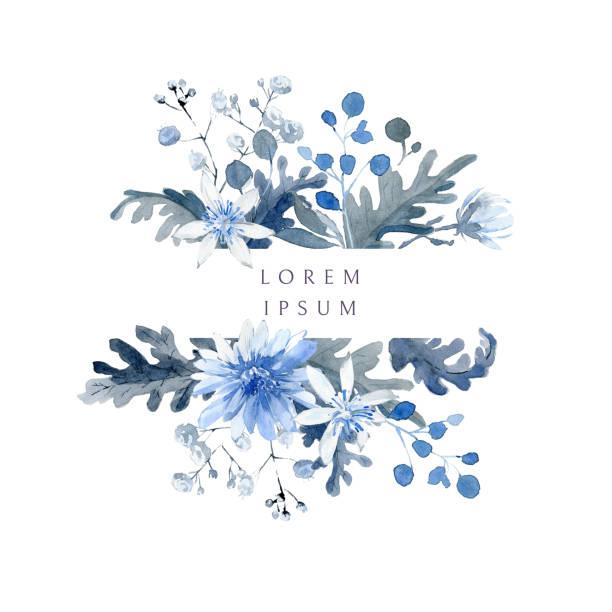 Fond floral d'aquarelle. Cadre horizontal avec des usines noires et bleues - Illustration vectorielle