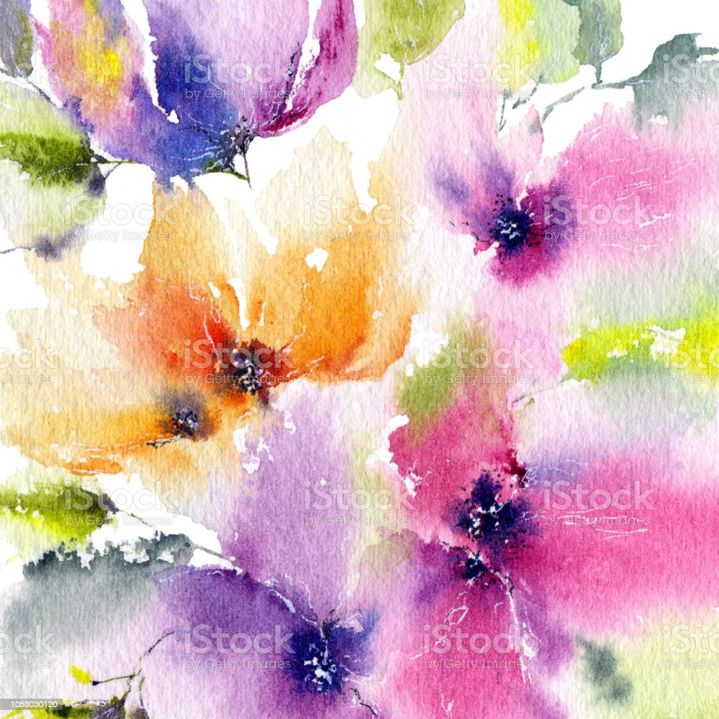 Watercolor Floral Background Watercolor Flowers Floral Greeting