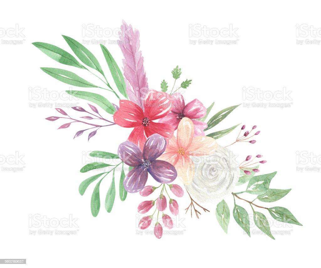 Watercolor Floral Bohemian Flower Bouquet Arrangement Feathers ...