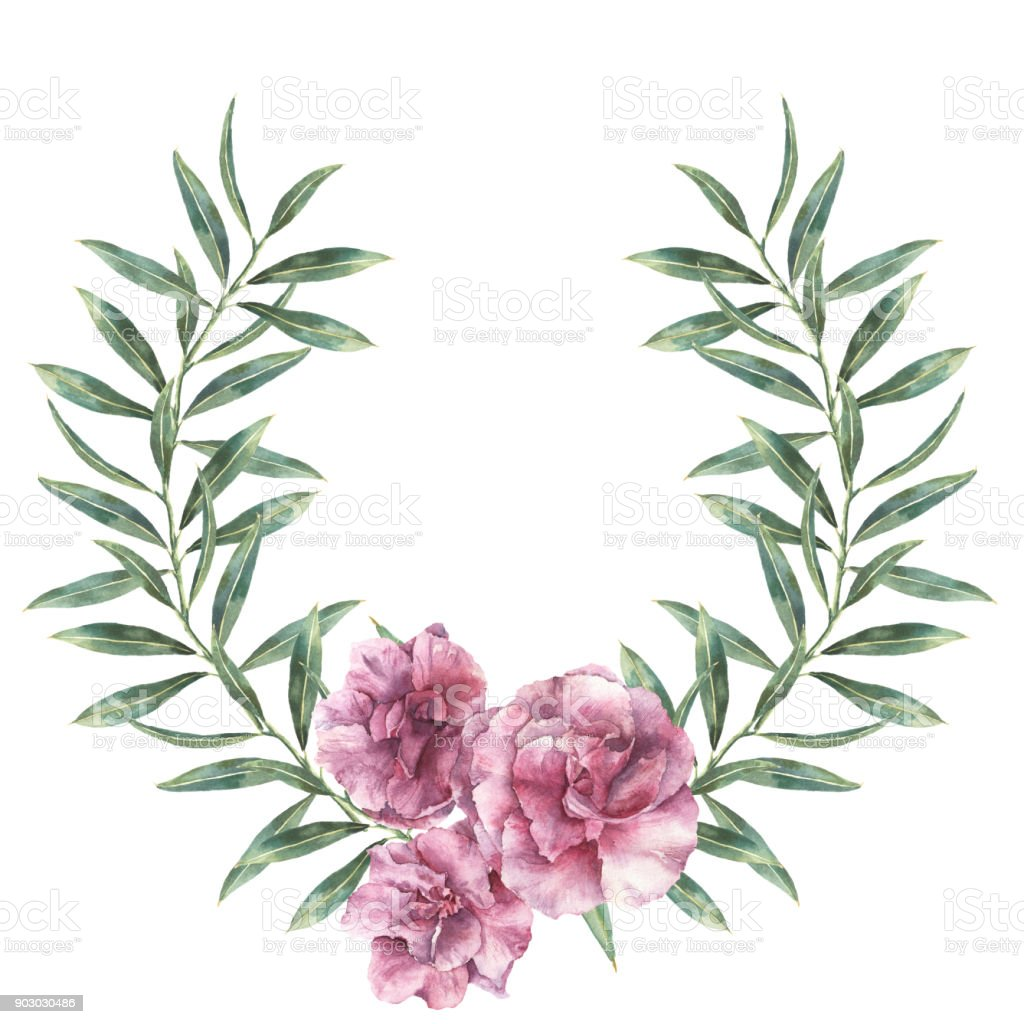 Watercolor Floral Border Hand Painted Wreath With Oleander Flowers