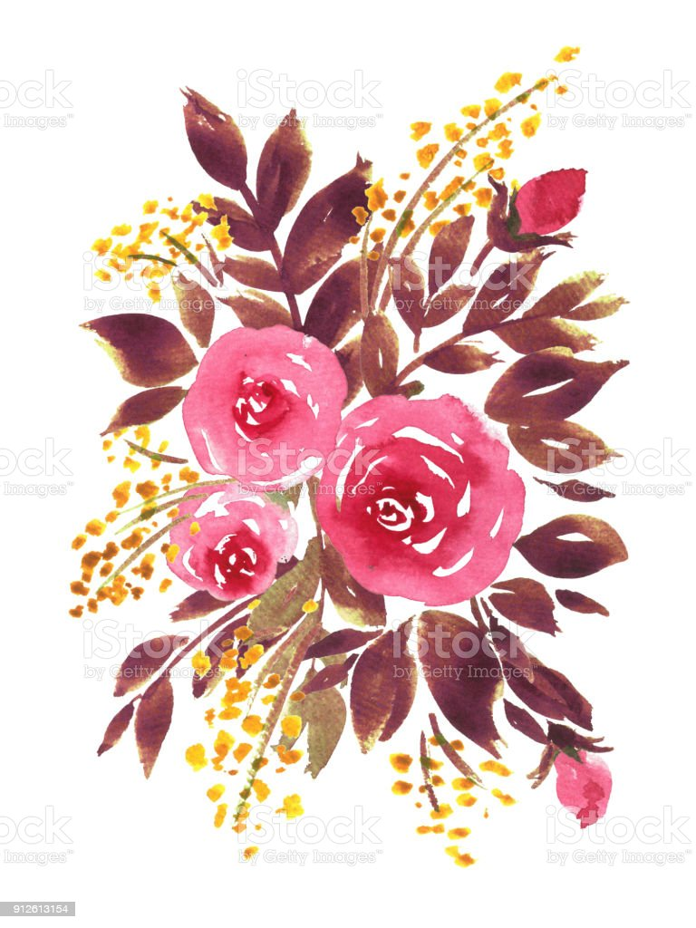 Watercolor Floral Bouquet Composition Of Roses Hand Painted Flowers ...