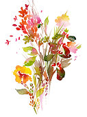 Watercolor floral bouquet. Painting made of meadow plants, herbs and flowers isolated on white. Bright botanical artwork for printed pictures, postcard, posters and illustrations.