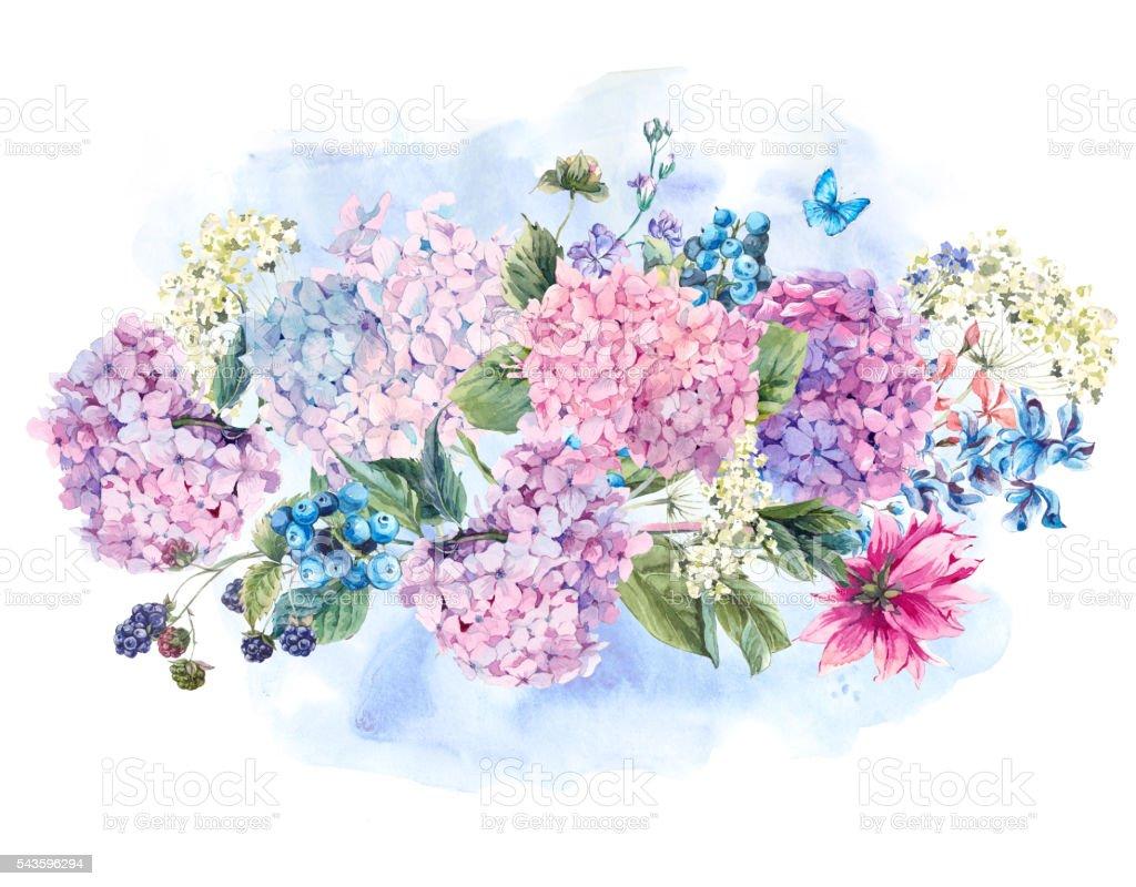 Ilustracion De Ramo De Flores Acuarela Con Hortensia Y Mas Vectores
