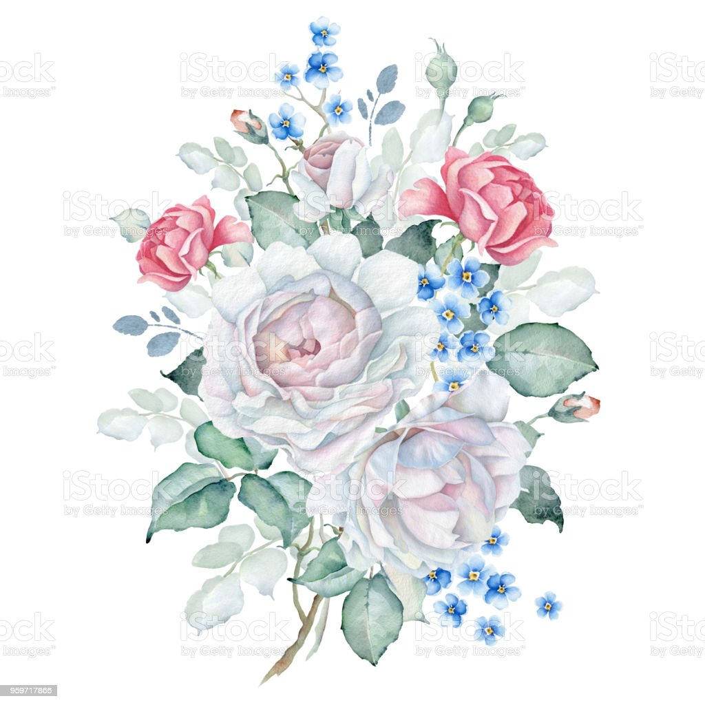 Watercolor Floral Bouquet With White And Pink Roses And Forgetmenot