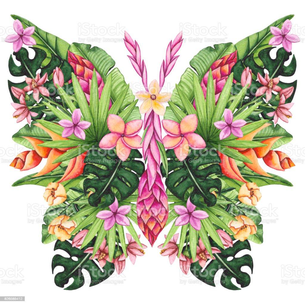 Ilustración de Acuarela Floral Mariposa Flores Tropicales Y Hojas y ...