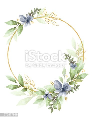 istock Watercolor Floral Clipart. Wedding invitation elements. 1272877936