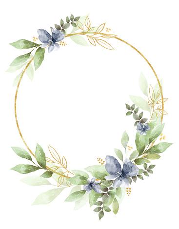 Watercolor Floral Clipart. Wedding invitation elements.
