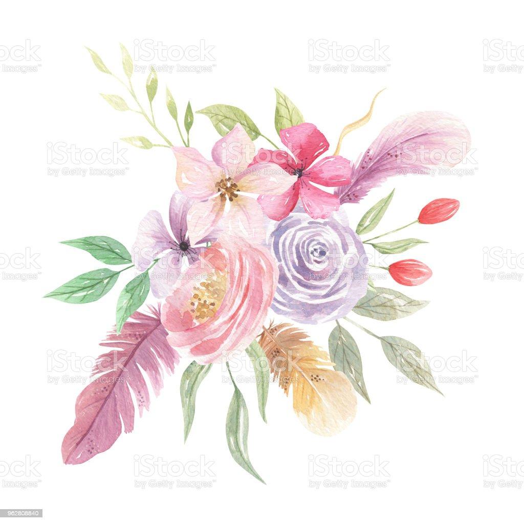 Watercolor Floral Feather Boho Bouquet Purple - Illustrazione stock royalty-free di Bacca