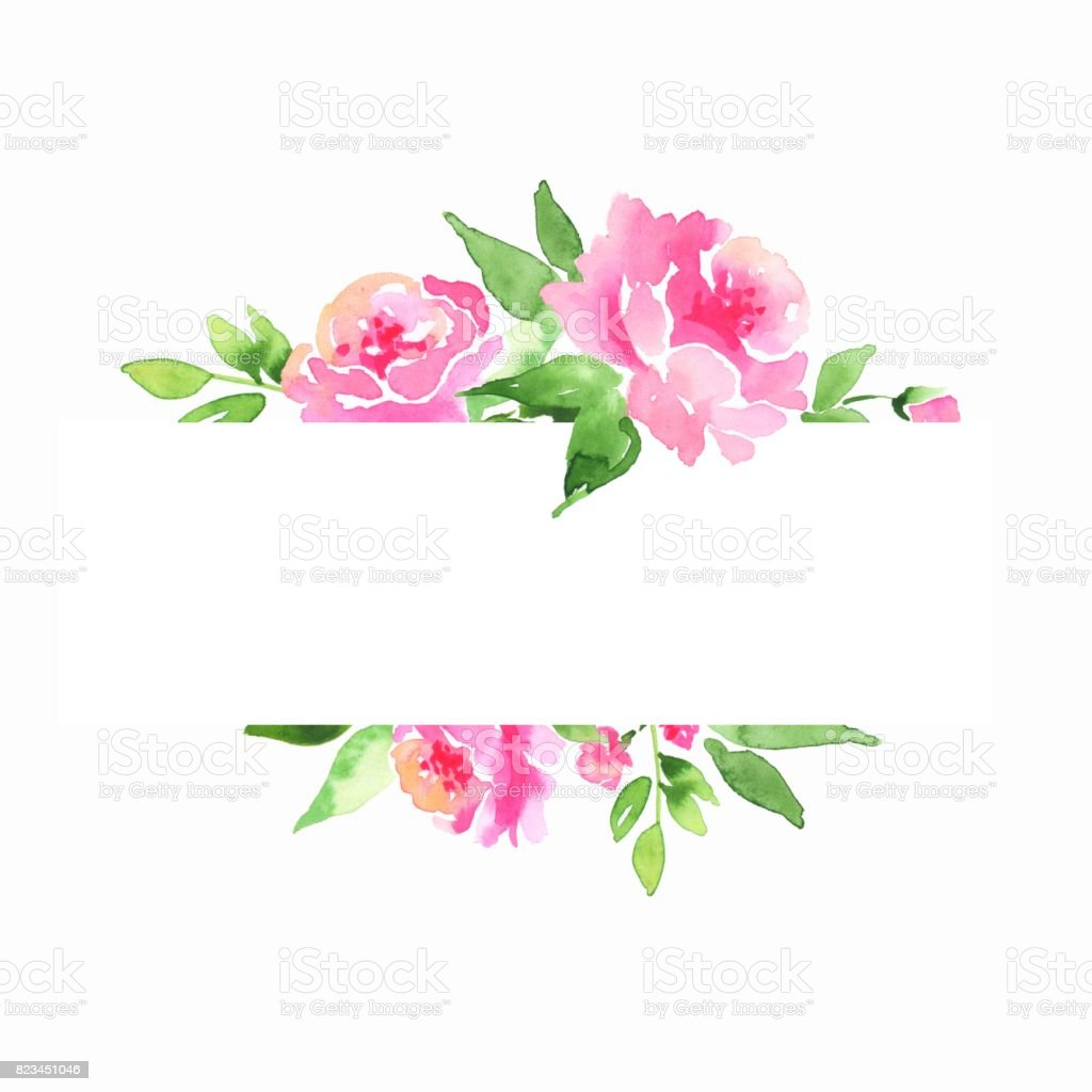 watercolor floral frame element for design stock vector