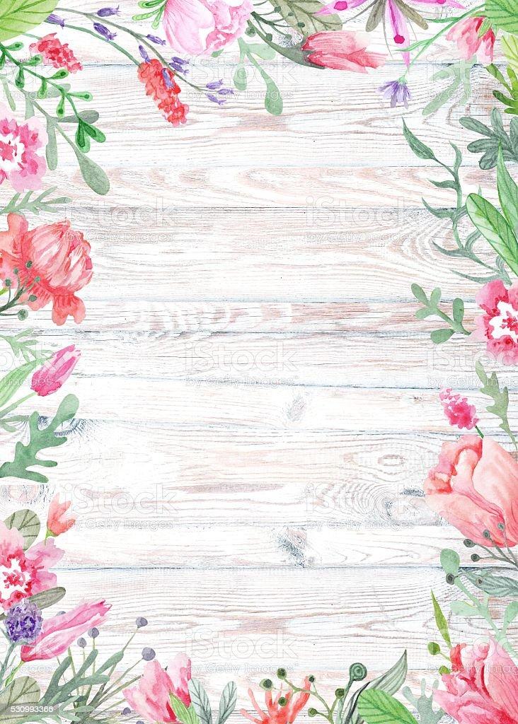 Watercolor Floral Frame on Wood Background vector art illustration