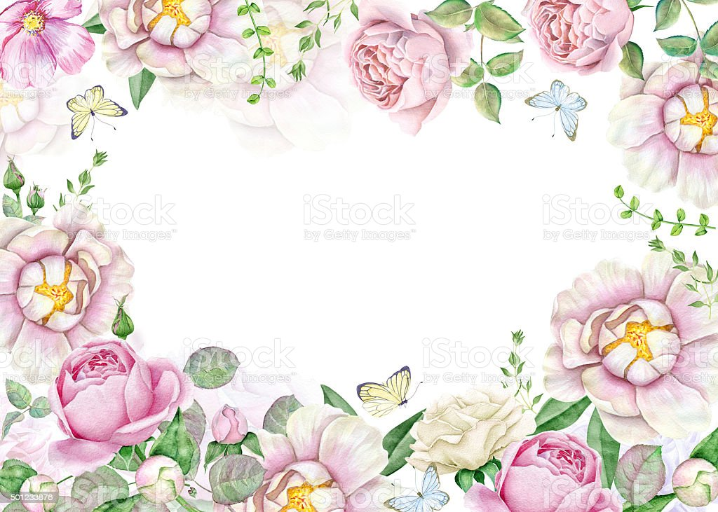 Watercolor Floral Frame With Peonies And Roses Stock