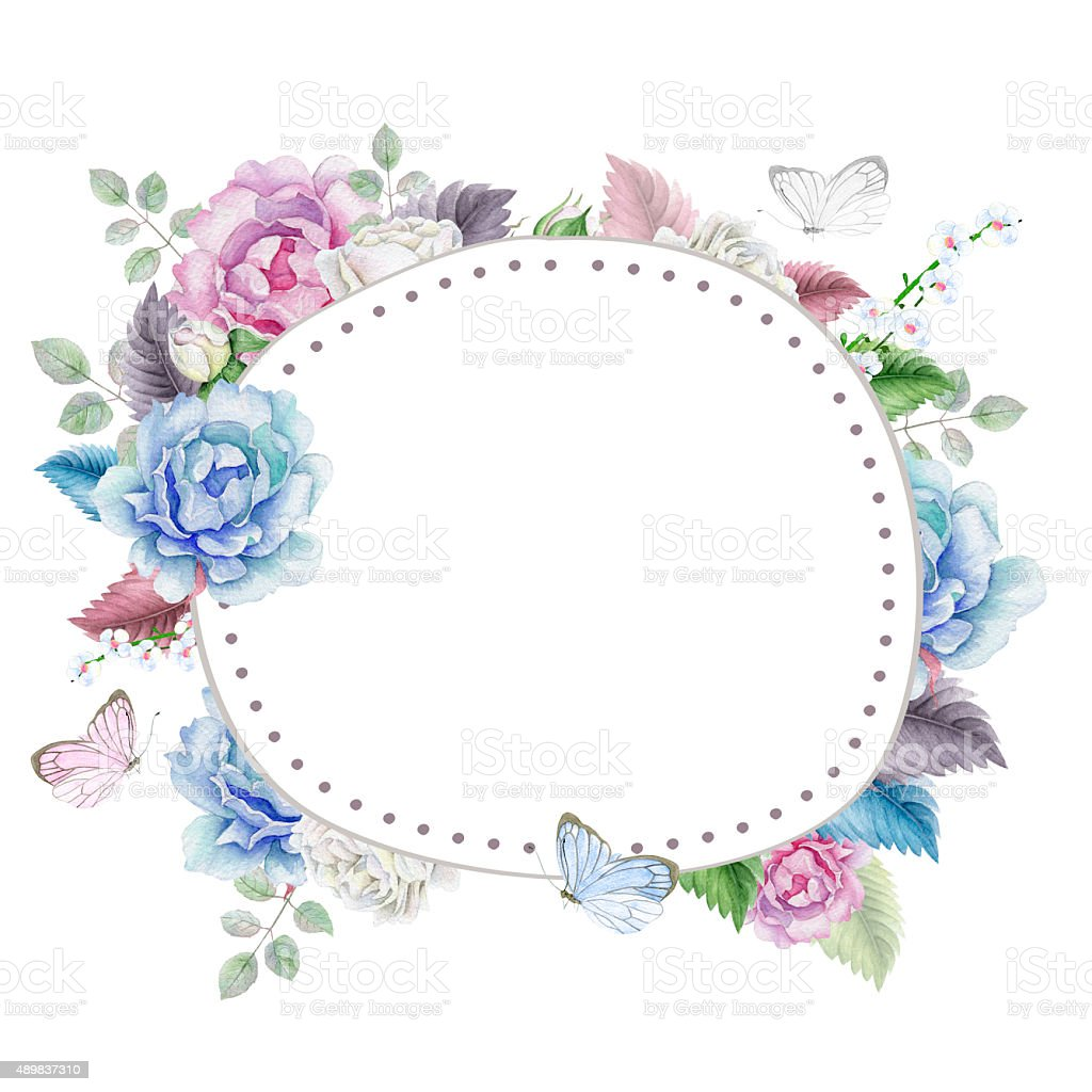 watercolor floral frame with roses stock vector art amp more