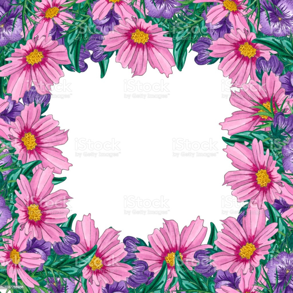 Watercolor Floral Frames With Wild Flowers And Leaves Stock Vector ...
