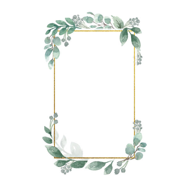 Watercolor Floral Geometric Frame Watercolor greenery foliage with metallic geometric frame wedding invitation stock illustrations
