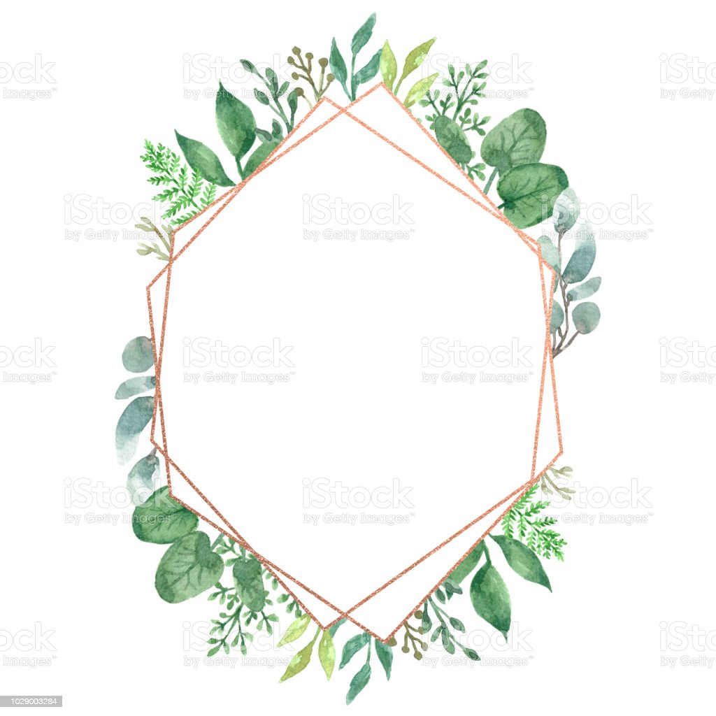 Watercolor Floral Geometric Frame Stock Illustration