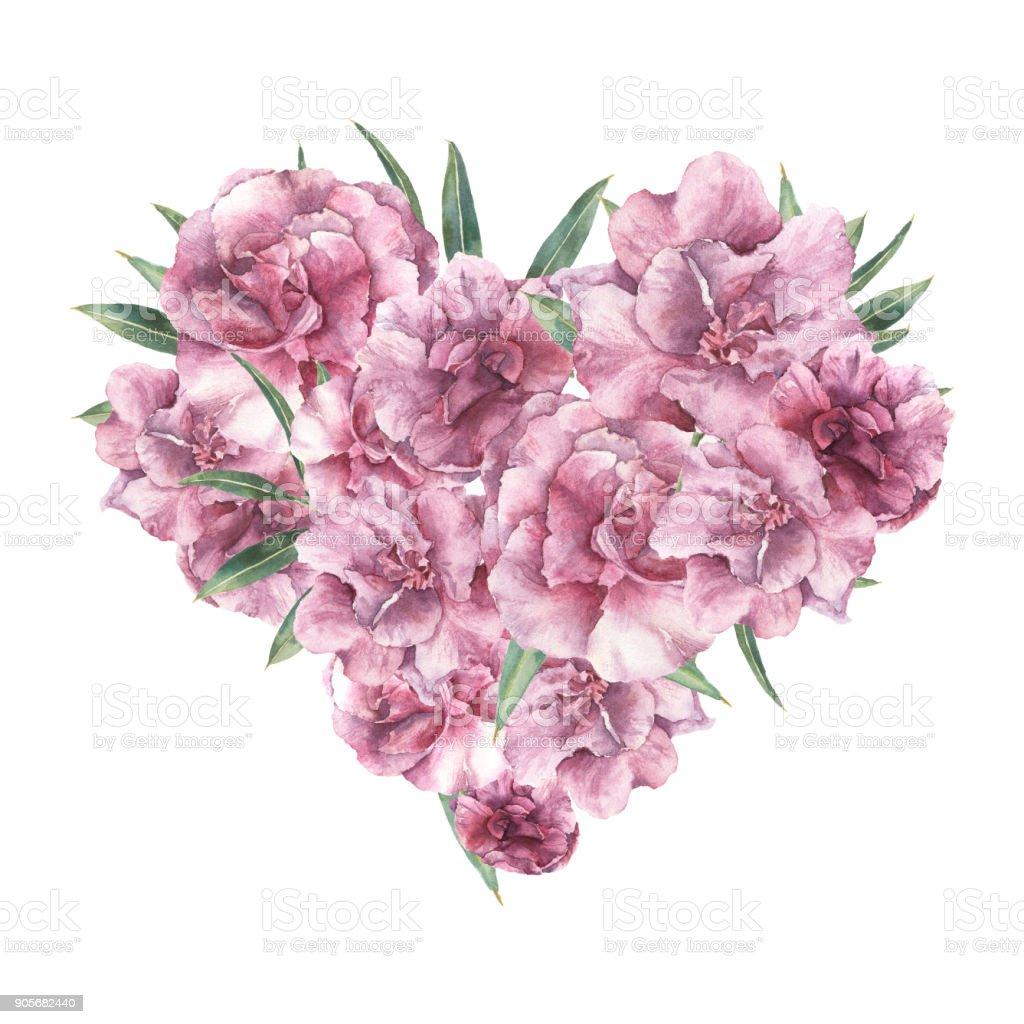 Bouquet De Fleur Pour St Valentin coeur floral aquarelle avec des fleurs de laurierrose peint