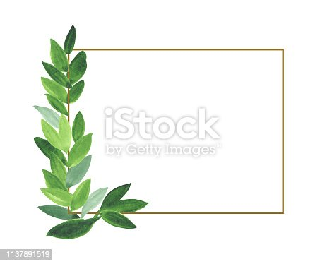 Watercolor floral illustration - leaf wreath / simple frame with brown geometric shape, for wedding stationary, greetings, wallpaper, fashion, background. Eucalyptus, olive, green leaves, etc.