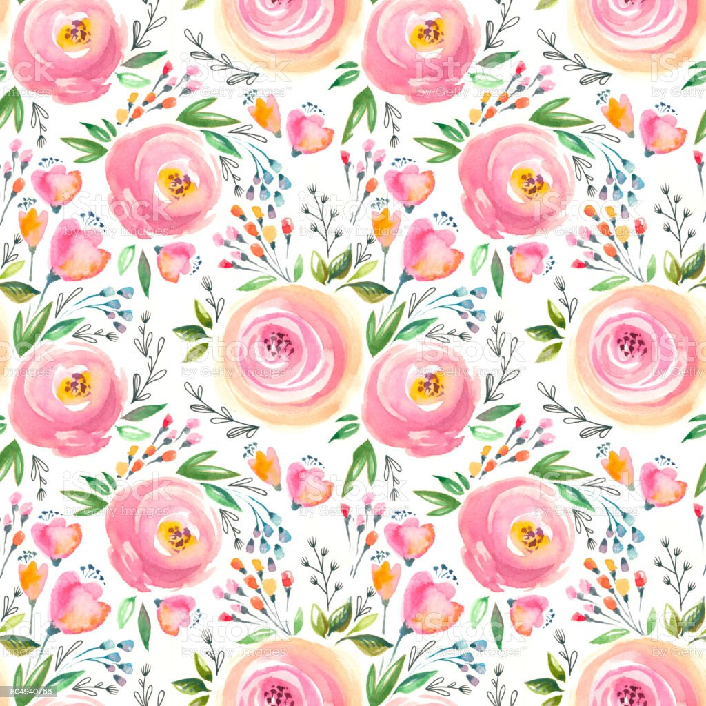 Watercolor Floral Pattern And Seamless Background Hand