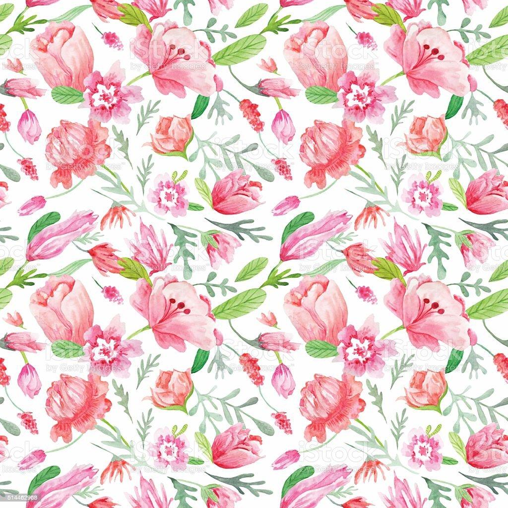 Watercolor Floral Pattern vector art illustration