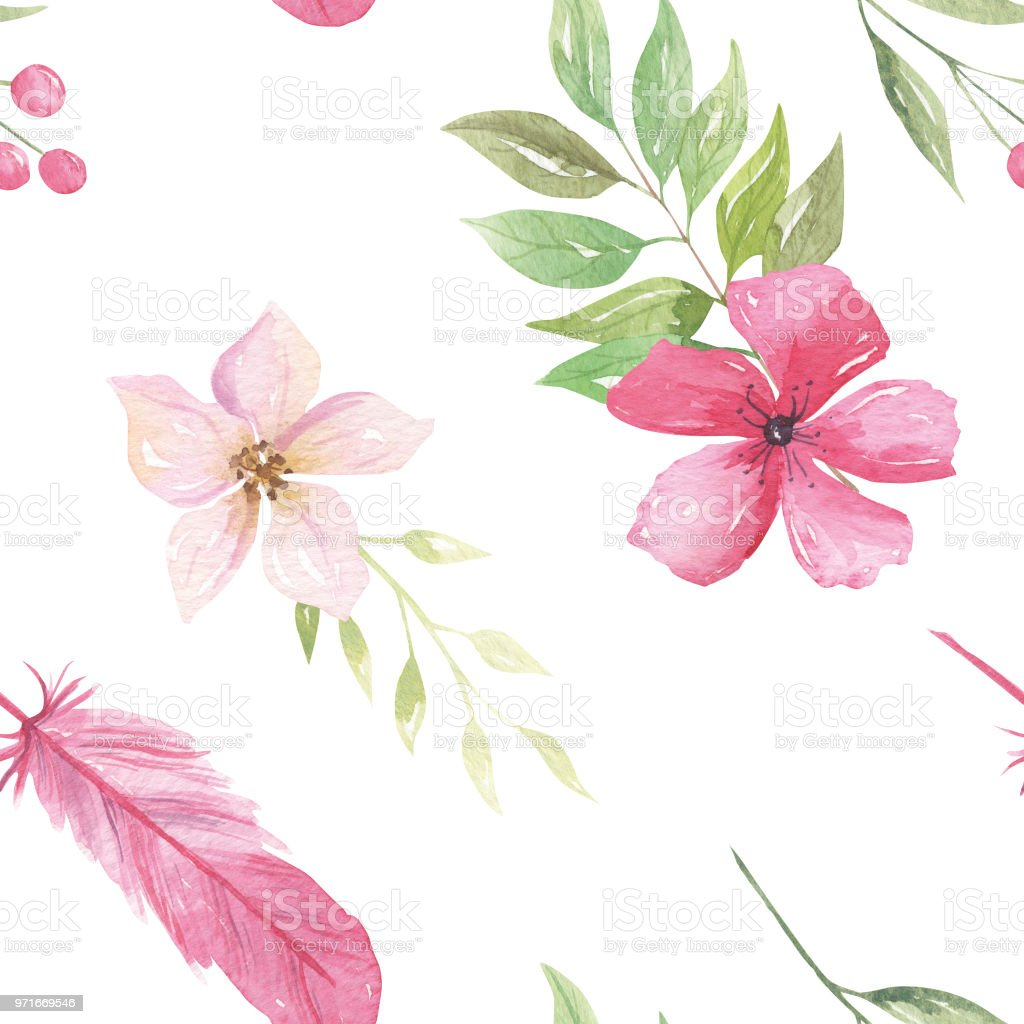 Watercolor floral patterns pink flowers repeat feathers stock vector watercolor floral patterns pink flowers repeat feathers royalty free watercolor floral patterns pink flowers repeat mightylinksfo