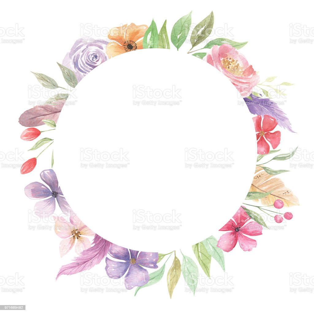 Watercolor Floral Pink Frames Borders Circle Purple Flowers Stock