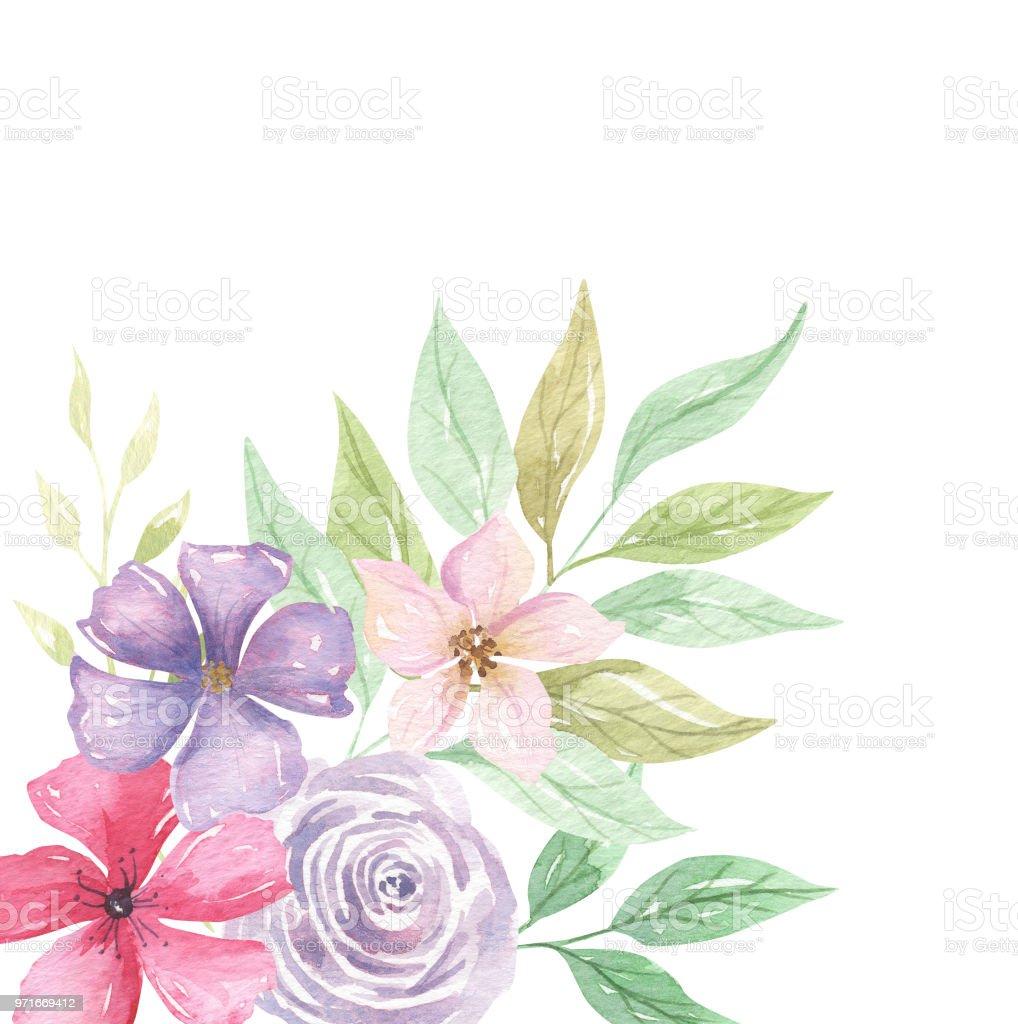 Watercolor Floral Pink Frames Corner Borders Purple Flowers Stock ...