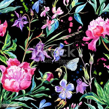 Seamless pattern of peonies, aquilegia, honeysuckle, geraniums, dragonflies and butterflies. Watercolor floral print with insects.
