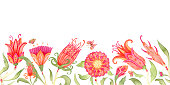 istock Watercolor floral seamless border. Elegant boho background with colorful flowers and butterflies. Isolated on white. 1338894895