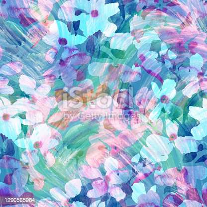 istock Watercolor floral seamless pattern. Hand drawn summer background made of meadow flowers with hatching grunge texture. Flower buds blooming. Colorful botanical drawing for fabric and textile. 1290565964