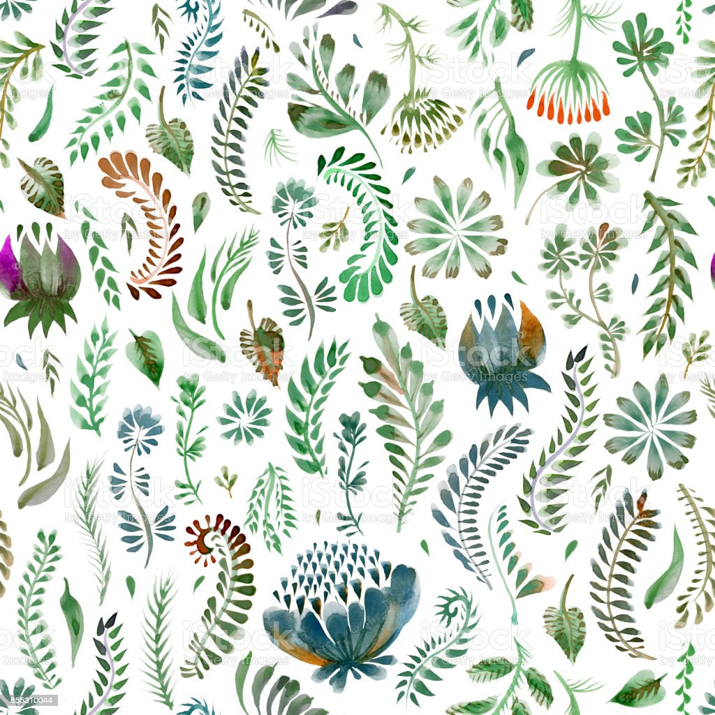 Watercolor floral seamless pattern in Ukrainian folk painting style Petrykivka. Hand drawn fantasy flowers, leaves, branches isolated on a white background. Batik, page fill, album cover, , textile print, wallpaper, wrapping paper vector art illustration