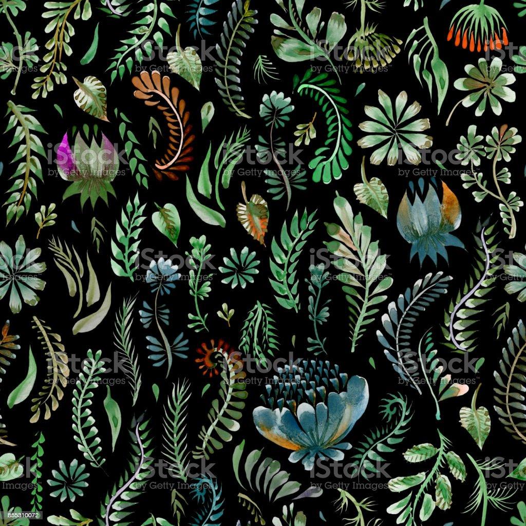 Watercolor Floral Seamless Pattern In Ukrainian Folk
