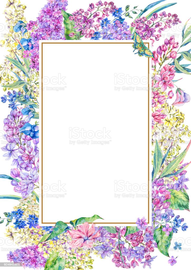 Watercolor Floral Spring Vertical Frame Stock Vector Art & More ...