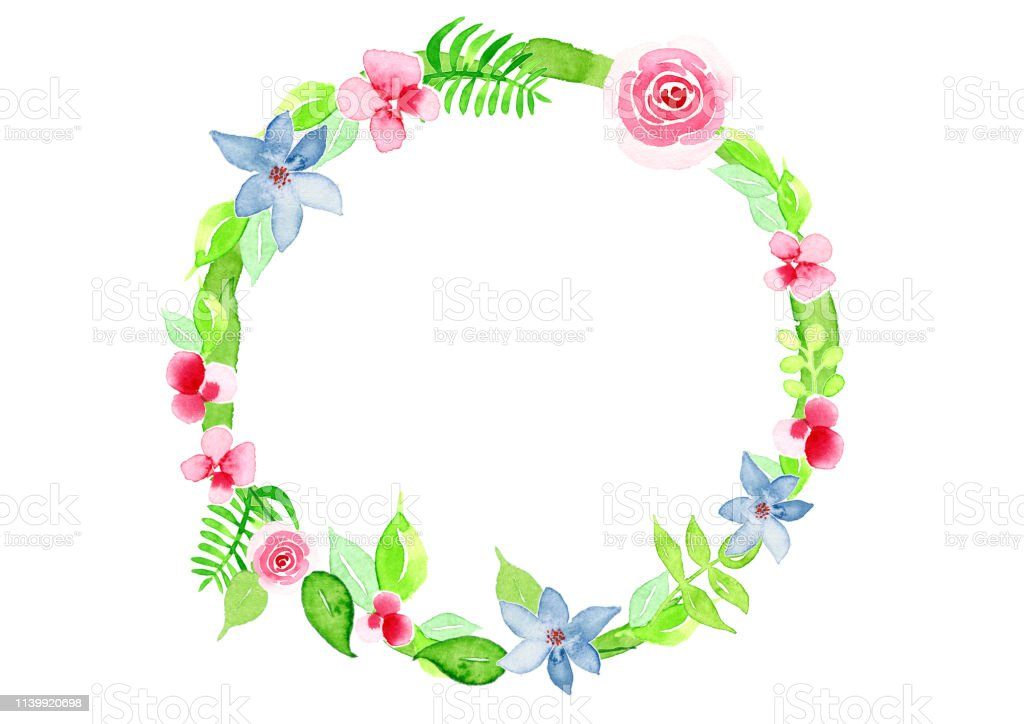 watercolor floral wreath vector art illustration