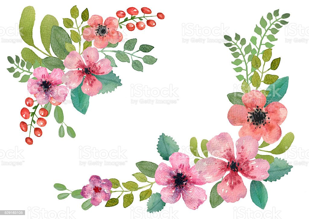 Watercolor Floral Wreath Royalty Free Stock Vector Art Amp More