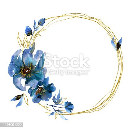 Watercolor floral wreath with blue flowers and golden leaves