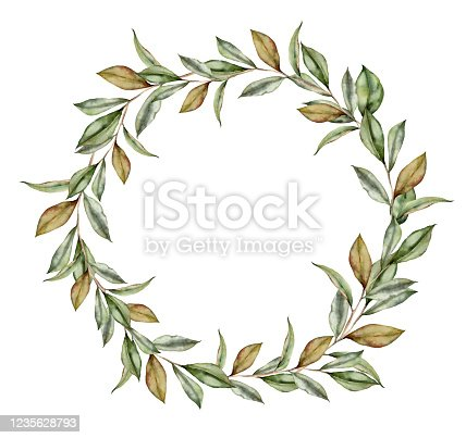 Watercolor floral wreath with leaves of magnolia. Hand painted bouquet with foliage isolated on white background. Floral spring illustration for design, print, fabric or background